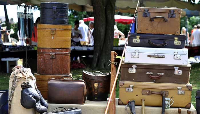 old style suitcases.